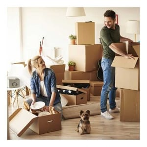 Couple unpacking with dog